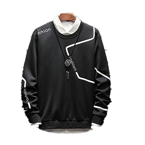 Autunno Uomini Manica Lunga T-Shirt Girocollo Coreano Studente Sport Maglione Tendenza Pullover Gioventù Nero XXX-Large