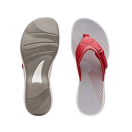 Xmiral Flip-Flops Damen mit Flachem Boden Slipper Anti-Rutsch Beiläufige Outdoorschuhe(42,Rot)