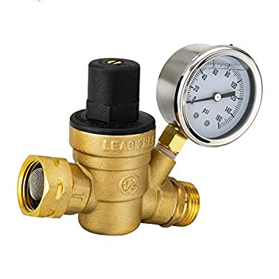 RV Brass Water Pressure Regulator | RV Plumbing | Adjustable Water Pressure Regulator | with Guage by RecPro