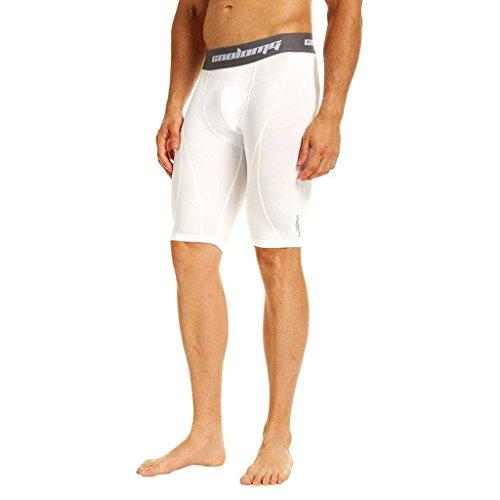 COOLOMG Shorts Funktionshose Kurz Laufhose Training Fitness Gym Fußball Sporthose für Herren Jungen Weiß XS