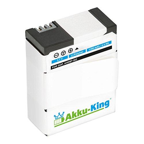 Akku-King Akku kompatibel mit GoPro AHDBT-301, AHDBT-302, AHDBT-201 - Li-Polymer 1180mAh - für HERO3, Hero 3 HD, Hero 3+, Rollei Actioncam 420