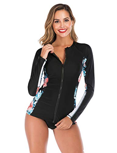 Women Rash Guard Tops Long Sleeve Bathing Suits Printed UV Sun Protection Two Piece Swimsuit, Black 2XL