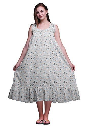 Bimba hellgrau13 Blumen- Herz Flasche & Rose ärmelloses Nachthemd für Damen Nachtwäsche aus Baumwolle mit Baumwolldruck XXX-Large