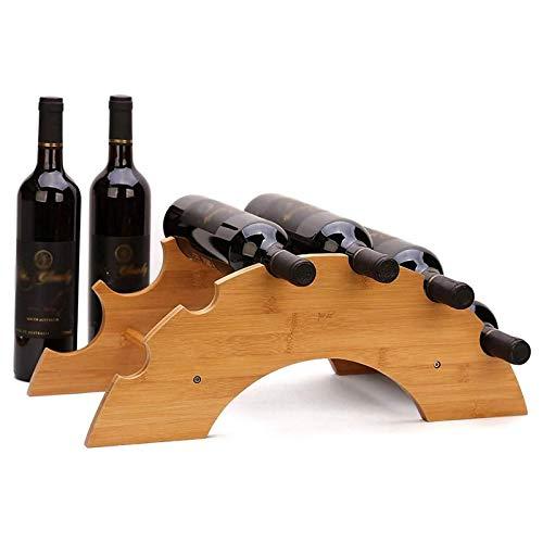 Estante para Vino de Madera de 6 Ranuras, Estante para Vino de Madera de Diseño Moderno Independiente Ideal para Amantes del Vino O Invitados A Fiestas O Banquetes