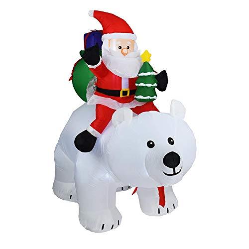 Opblaasbare kerstman met verlichting voor buiten, met blazer 2 m kerstman, die zijn hoofd schudden en een ijsbeer paardrijden kan, 12V