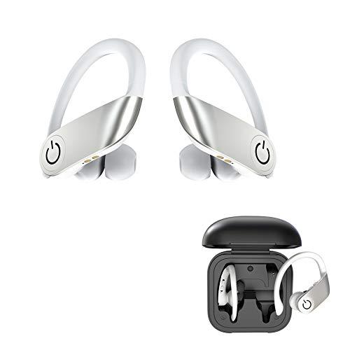 Auriculares Bluetooth inalámbricos in-ear con graves potentes, auriculares True Wireless y portátil, maletín de carga para trabajar, correr o entrenar (blanco)