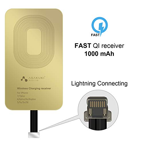ASAKUKI Wireless Charging Receiver, Ultra-Thin Copper Coil Patch With Overvoltage Protection For Qi Wireless Charging Pads - Smart & Fast Microchip Technology For Apple Smartphone Devices …