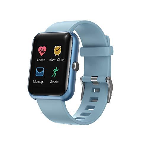 Amaxos Ax20 - Reloj inteligente de seguimiento de fitness para iOS y Android, Bluetooth, monitor de frecuencia cardíaca, color azul