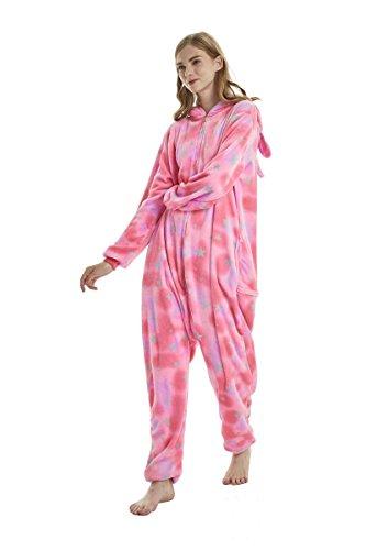 Yuson Mädchen Winter Flanell Einhorn Onesie Pyjamas Erwachsene Unisex Einteiler Cartoon Tier Kostüm Neuheit Weihnachten Cosplay Pyjamas (Rosa Einhorn) - 6