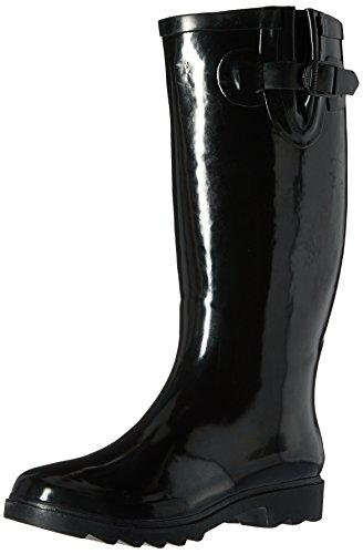 Henry Ferrera Women's Classic Black Glossy Waterproof Rubber Rain Boots (7)