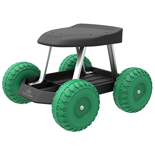 Pure Garden 82-VY021 Cart Rolling Stool with Wheels Seat, and Tool Tray for Weeding, Planting, or Lawn Care – Gardening Accessories and Supplies, 17.5x19, Green/Black