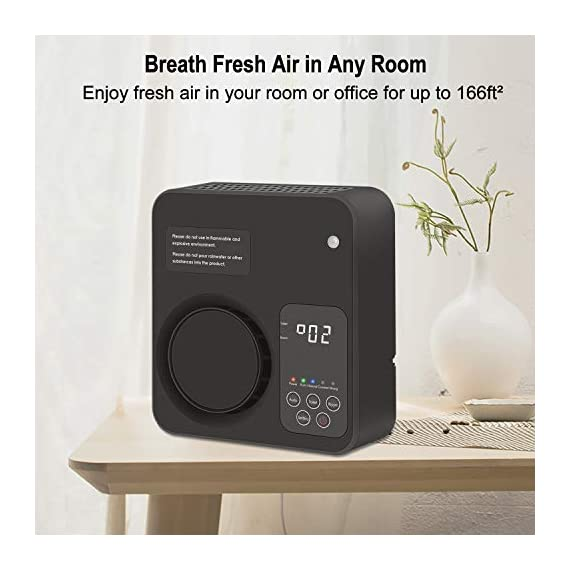 [Upgraded] TREKOO Ozone Generator Air Purifier Ionizer Home Odor Remover Deodorizer for Bedroom Living Room Restroom… 3 【REMOVE TOUGH ODORS】 - This TREKOO ozone generator creates O3 which breaks down odors. Odor eliminator removes any odors for your rooms, hotels, offices, kitchens and cars such as cigarette smoke, pet odors, cooking odors, and other airborne irritants. 【NEGATIVE ION GENERATOR】 - Air cleaner refresher releases Negative Ions to purify and refresh room air up to about 166 square footage. Emitting up to 1 million negative ions per second, this negative ion machine provides you with cleaner, safer, and overall better air quality that your health deserves. 【AUTO SENSOR OPERATION】 - Saving your electricity bill. This air purifier has sensing operation. When it senses people or pets in the room, deodorizer generates ozone and negative ion for 2min every 4min. If it senses nobody, it will switch to Sleep Mode to save energy after 3 working frequecies for 2 hours and then works again. For Generation 2, it has a more powerful Manual Mode to remove tough odors in unoccupied areas. (Notice: Please read the Instructions before using Manual Mode)