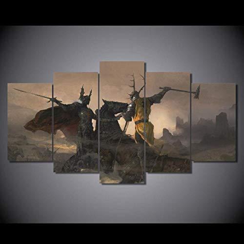 Myrdsio Quadri Soggiorno 5 Pezzi Stampe su Tela Dipinti Moderni Decorazione per L'Arte della Parete Domestica Quadri Grandi Dimensioni 150×80 Cm con Cornici Gioco Battle Trident 1 - Film
