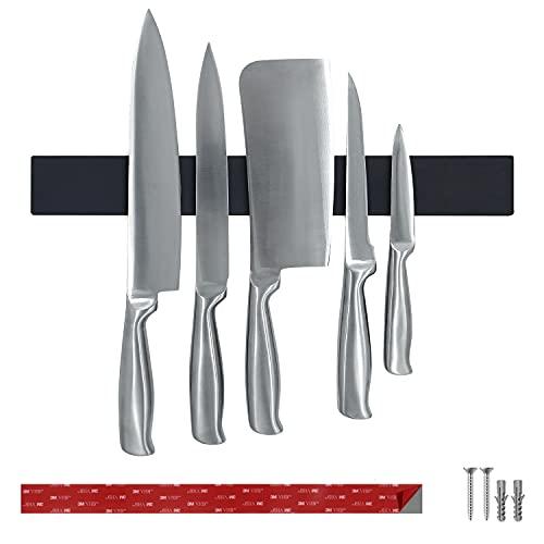 Original Messerleiste, Magnetleiste mit Schutz aus Silikon für Messer ohne Kratzer, Messerhalter in schwarz, Magnetschiene 40 cm, Magnet - extra stark, Leichte Messeraufbewahrung in der Küche