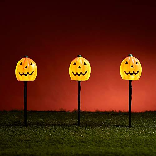 Lights4fun - Conjunto de 3 Estacas de Jardín Halloween Decoración en Forma de Calabazas a Pilas