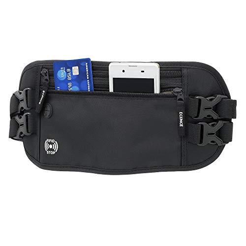 ECENCE Marsupio con Blocco RFID, Protezione NFC, borsetto, Marsupio per Donne, Uomini, Bambini, Idrorepellente, Sicurezza per passaporti, Carte di Credito, Borsetta da Viaggio Nero 12020105