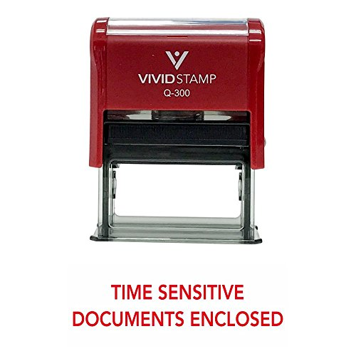 TIME Sensitive DOCUMENTS Enclosed Self Inking Rubber Stamp (Red Ink) - Large