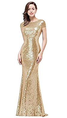 MisShow Women Sequins Prom Bridesmaid Dress Glitter Rose Gold Long Evening Gowns Formal