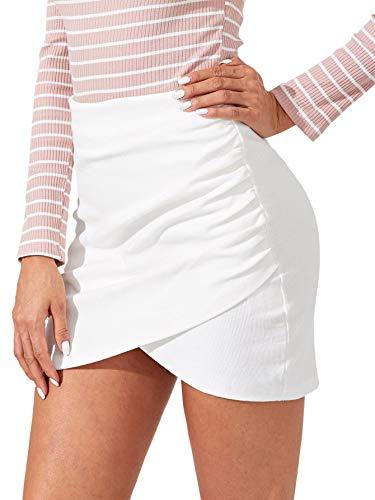 SheIn Women's Stretchy Wrap Front Asymmetrical Hem Split Bodycon Pencil Mini Short Skirt White Large