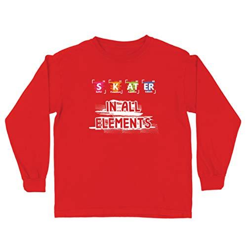 lepni.me Camiseta para Niño/Niña Patinador en Todos los Elementos Química Periódica de Mesa Deporte (9-11 Years Rojo Multicolor)
