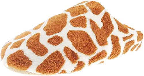 Glamour Girlz Damen-Hausschuhe mit Giraffen-Aufdruck, flauschig, zum Reinschlüpfen, aus Plüsch, Weiß - weiß - Größe: 37/38 EU