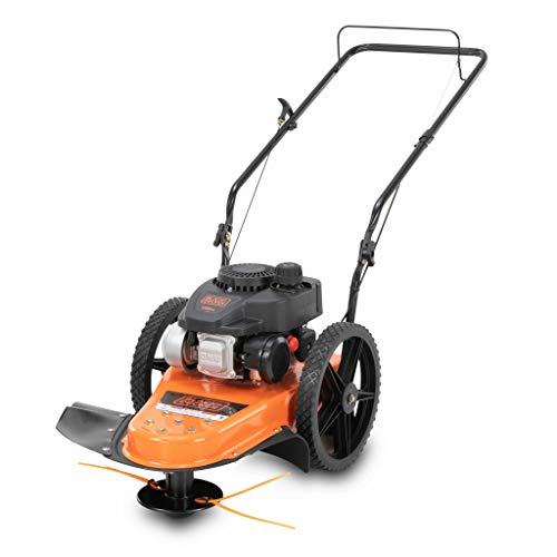 BLACK+DECKER 140cc 4-Cycle Gas Powered Walk-Behind High-Wheeled String Trimmer - 22-Inch Trimming Mower for Lawn Care, Black and Orange