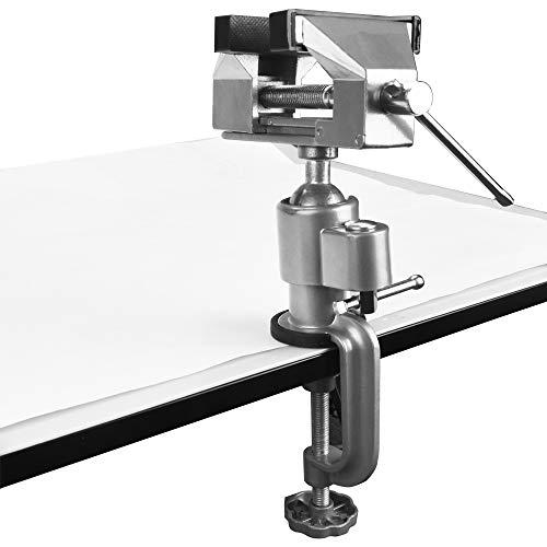 XAVSWRDE Mini Schraubstock Aluminiumlegierung Bankschraubstock 50 mm Spannweite Tischschraubstock mit Schonbacken Klemmbacken Universalschraubstock für elektrische Bohrmaschine, Stentschleifer