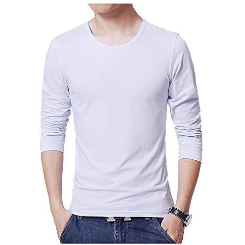 Camiseta para Hombre Ajustada De Manga Larga Color Puro Joven Redonda AlgodóN con Ajuste CeñIdo Ropa OtoñO Informal