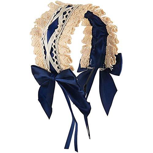 jieGorge Headband Cosplay Headdress Lace Ribbon Bowknot Cute Cute Hair Band Hair, Accessory, Clothing Shoes & Accessories (Dark Blue)