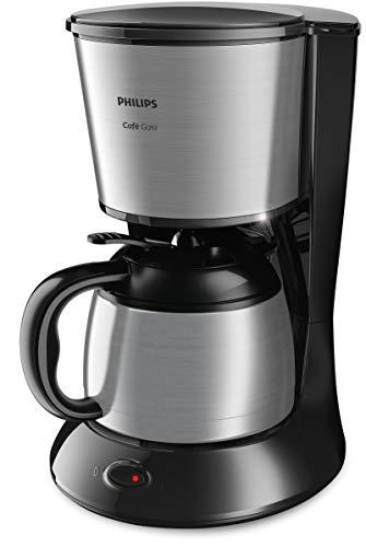 Philips Gaia Therm Kompakt HD7542/20 Filterkaffeemaschine mit Thermo-Kanne, schwarz/metall