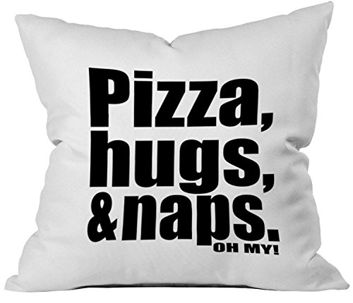 Oh, Susannah Pizza, Hugs, Naps. Oh My! 18x18 Inch Throw Pillow Cover Home Decor