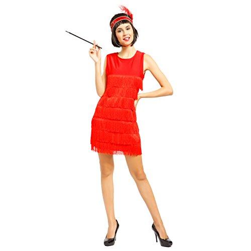 Anladia 20er Jahre Fransen Charleston Kleid Damen Kostüm Flapperkleid Tanzclub Bälle Party Abendkleid, M, Rot