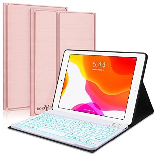 "New iPad 10.2 8th 7th Generation 2019 Keyboard Case,Boriyuan 7 Colors Backlit Detachable Keyboard Slim Leather Folio Smart Cover for iPad 10.2 Inch/iPad Air 10.5""(3rd Gen)/iPad Pro 10.5 inch–Rose Gold"