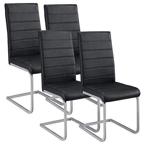 ArtLife Freischwinger Stuhl Vegas 4er Set | Kunstleder Bezug + Metall Gestell | 120 kg belastbar | schwarz | Esszimmerstühle Schwingstühle