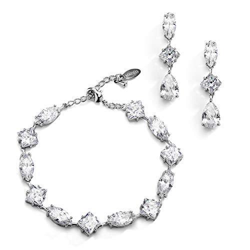 Mariell Silver Zirconia Crystal Wedding Bracelet & Earrings Set for Women, Jewelry for Bride, Bridesmaid