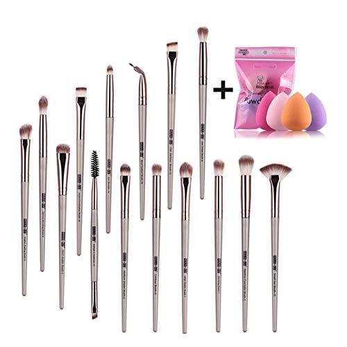15pcs oeil pinceau cosmétique avec 4pcs en forme de goutte poudre feuilletée brosse de maquillage doux maquillage oeuf set