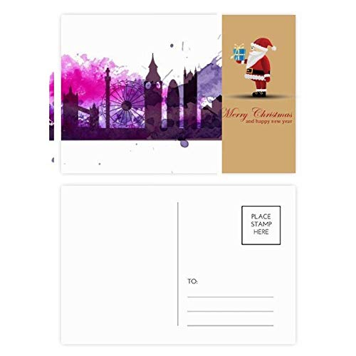 UK Engeland Londen paars aquarel kerstman ansichtkaart set dank kaart mailen 20 stks