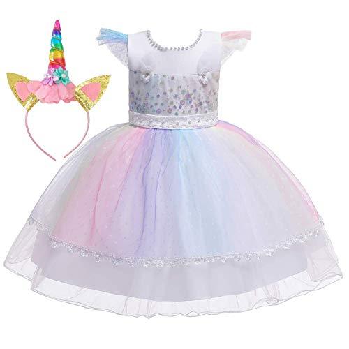 IDOPIP Vestido de Unicornio para Bebé Niñas Disfraces de Unicornio Princesa Traje de Carnaval Cumpleaños Comunión Cosplay Costume 12Meses-5Años