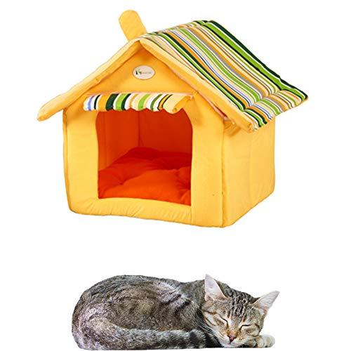 ppactvo Cueva Gato Cama Mascota Acogedora Cueva para Perros, Cama Lavable para Gatos, Cama para Perros con Funda ExtraíBle, Casa Interior para Cachorros para Gatos Y Perros Yellow,L