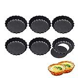 6 Pack antiadherentes 4 pulgadas Quiche Tart Pan, sartén para quiche redonda con fondo extraíble,...