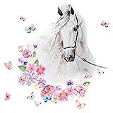 Little Deco DL464 - Adhesivo decorativo para pared (55 x 61 cm), diseño de cabeza de caballo con flores y mariposas