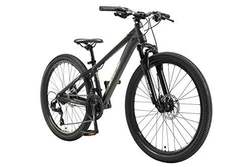 BIKESTAR Hardtail Mountain Bike in Alluminio, Freni a Disco, 26' | Bicicletta MTB Telaio 13' Cambio Shimano a 21 velocità, sospensioni | Nero