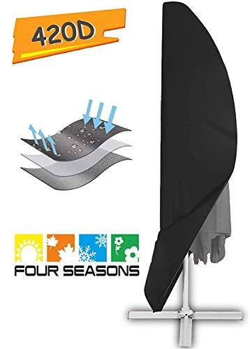 zizwe parasol beschermhoes met staaf, weerbestendig, UV-bestendig, winddicht en sneeuwbestendig, outdoor voor zonnescherm zwart (280 x 30/81 / 46 cm)