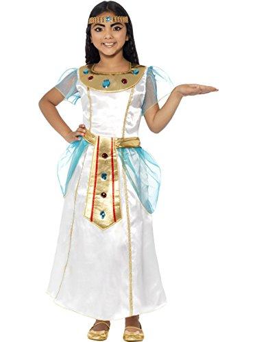 Smiffy's-44104S Traje de Chica Cleopatra, Vestido y Diadema, Color Blanco, One Size (44104S)