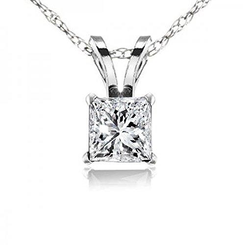 Dazzlingrock Collection 0.25 Carat (ctw) Princess Cut White Diamond Ladies Solitaire Pendant 1/4 CT, 10K White Gold