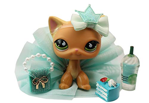 N/A USA LPS Shorthair Cat 525 Yellow Green Eyes Dog Puppy Figure with Accessories Lot Figure Collection Kids Birthday Xmas Gift