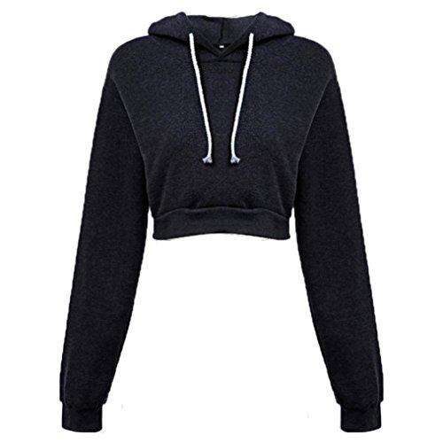 Amlaiworld Sweatshirts Mode Kurz Pulli Langarmshirts Damen bauchfrei komfortabel locker Sweatshirt weich Winter Herbst Kapuzenpullover für M?dchen (S, Schwarz)
