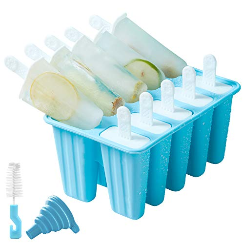 10 Piece Silicone Ice Pop Molds, BPA Free, Reusable