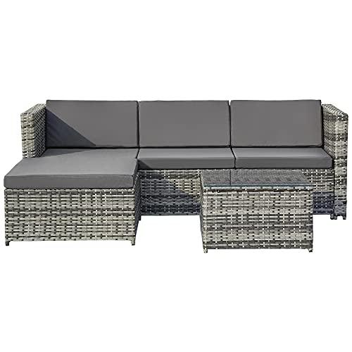 Belissy Sofá esquinero de ratán, muebles de jardín de polirratán, conjunto de asientos, conjunto de sofá, muebles de jardín, sofá esquinero,mesa de salón con placa de cristal, color gris
