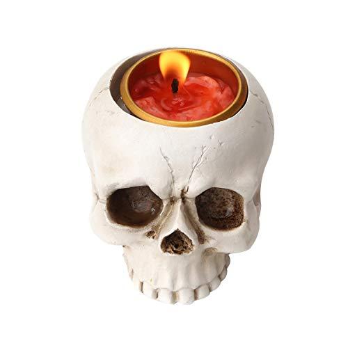 UnionKK 1 PCS Skeleton Skull Candlestick Holder Halloween Home Party Decorative Resin Skeleton...